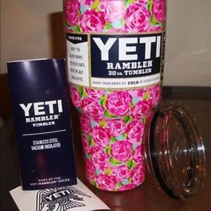 65584576281 Yeti Accessories | Lilly Pulitzer Roses Rambler New 30oz | Poshmark